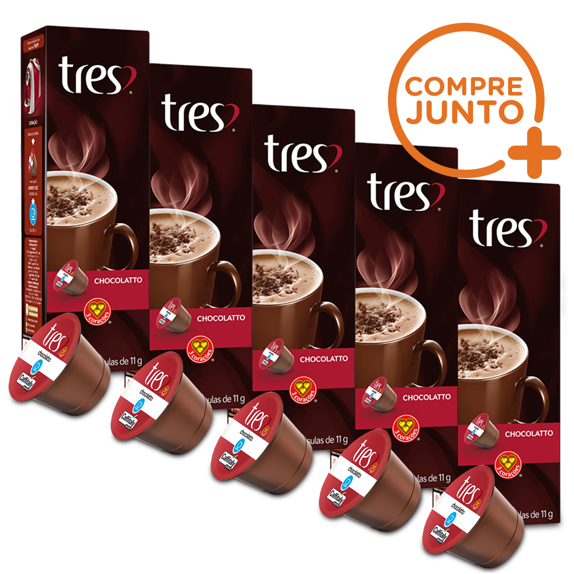 Kit Cápsulas Três Corações Chocolate Quente - 50 Cápsulas