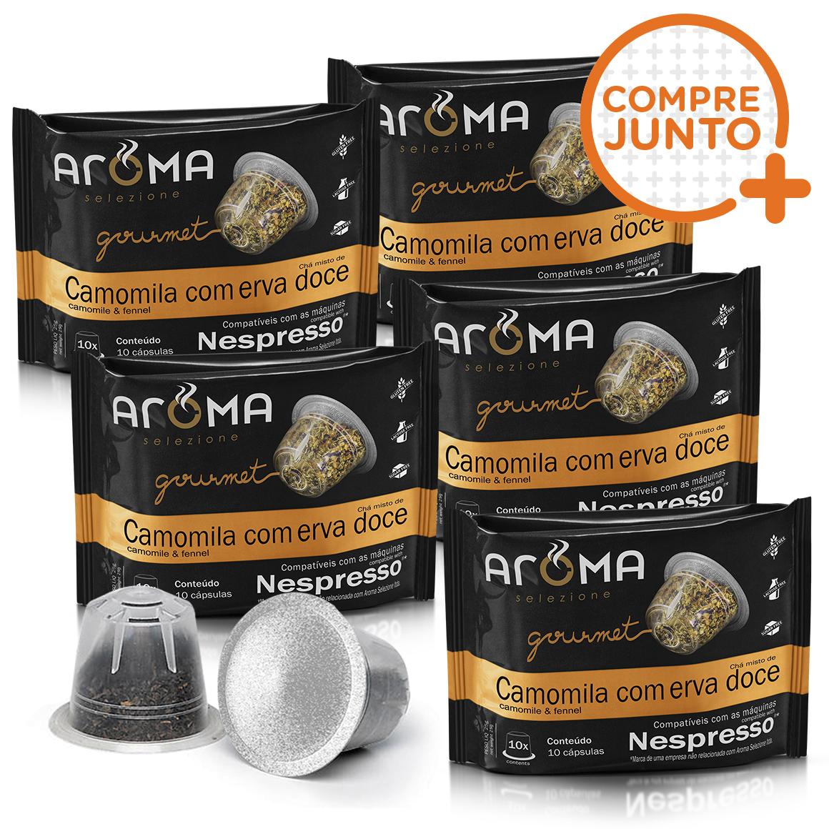 Kit Cápsulas de Chá Camomila com Erva- Doce Aroma - Compatíveis...