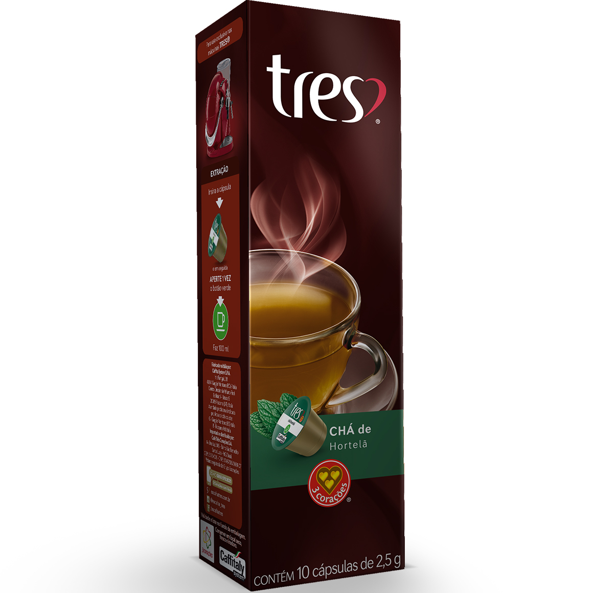 Cápsulas de Chá de Hortela 3 Corações - 10 un