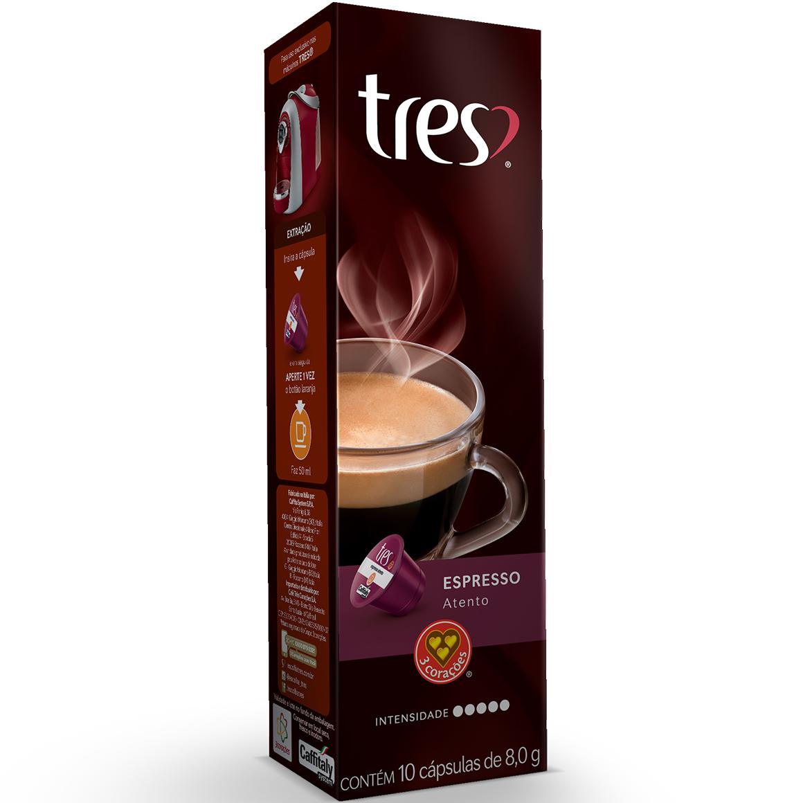 Cápsulas de Café Espresso Atento 3 Corações - 10 un