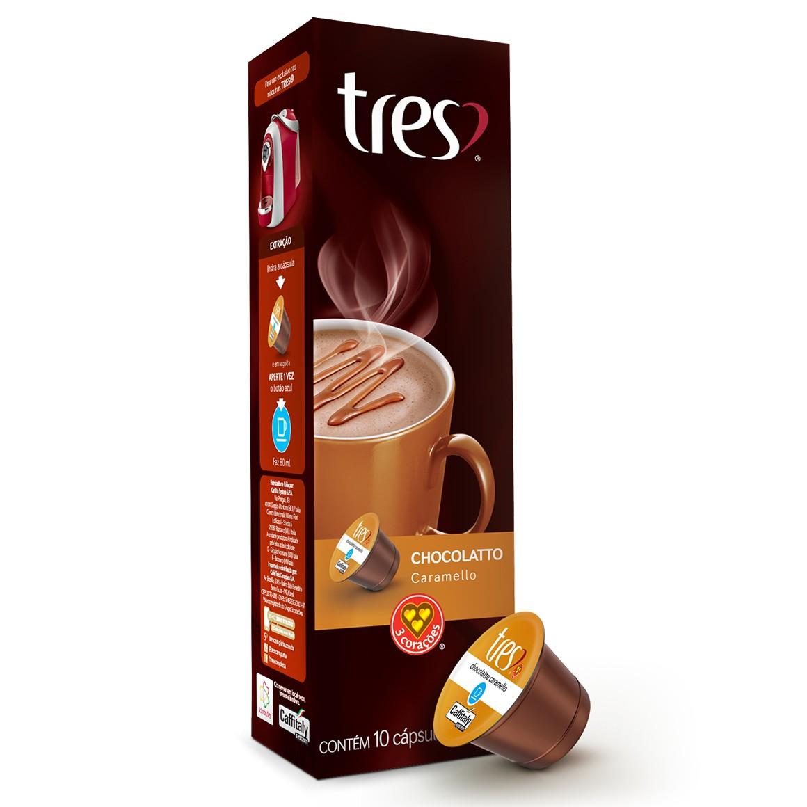Cápsulas de Chocolatto Caramello 3 Corações - 10 un