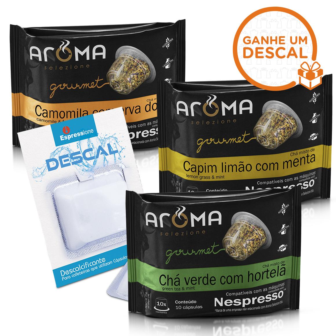 Kit 30 Cápsulas de Chá Compatíveis Nespresso Aroma + Descalcificante para Cafeteiras - 12gr