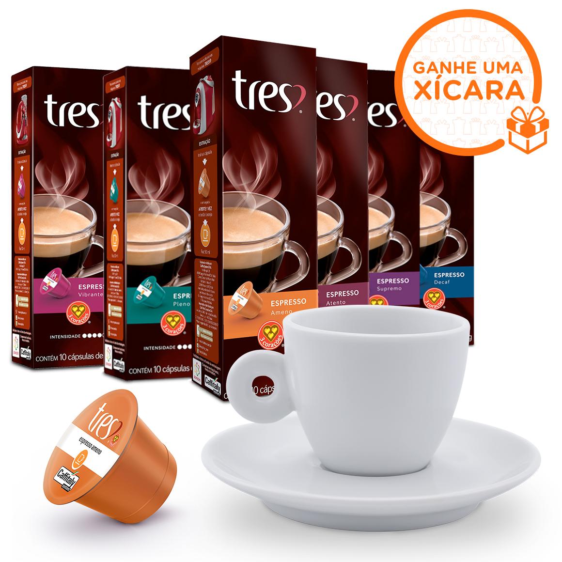 Kit 60 Cápsulas Espressos Três Corações Ganhe 1 Xícara de...