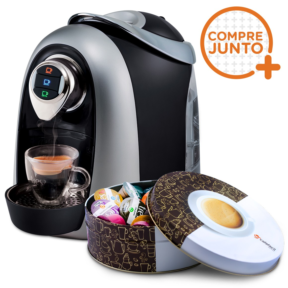 Cafeteira Três Cafeteira Expresso Três Corações Modo Preta 110v + LModo Preta 110v + Lata Café Fácil