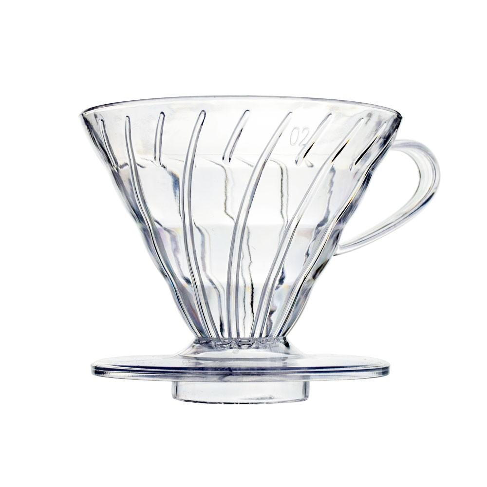 Coador para Café em Acrílico V60 Transparente - Tamanho 02