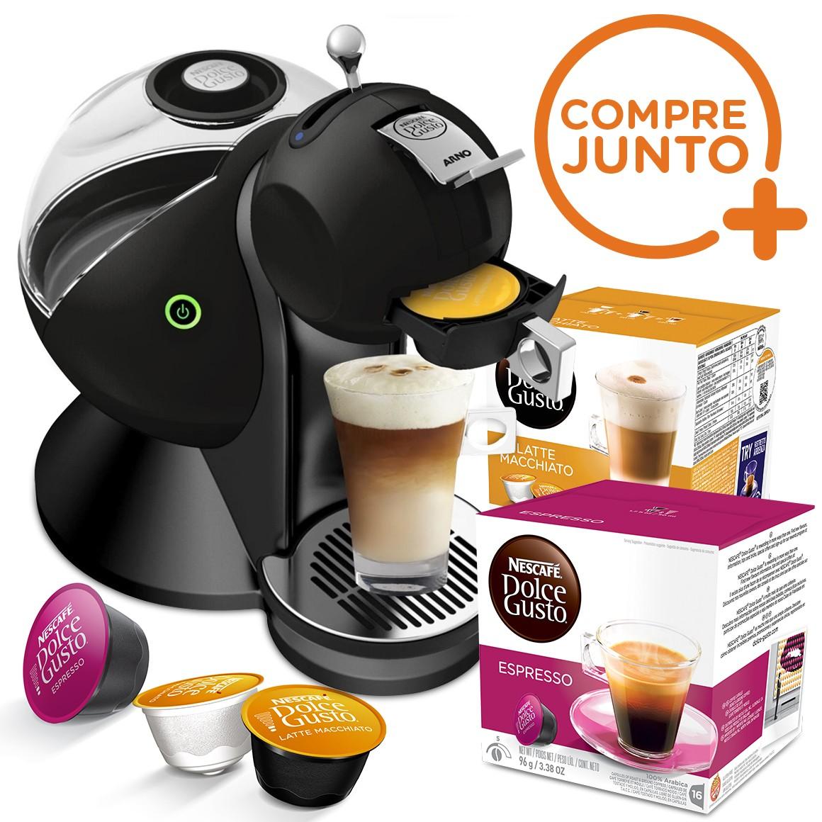 Cafeteira Expresso Dolce Gusto Nescafé Melody Arno Preta 110v + 32 Cápsulas