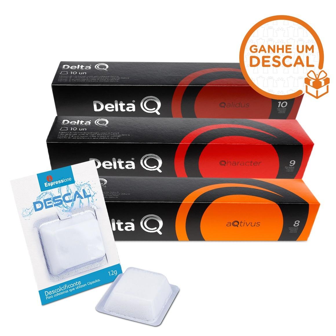 Kit 30 Cápsula de Café Delta Q + Descalcificante para Cafeteiras de Cápsulas - 12gr