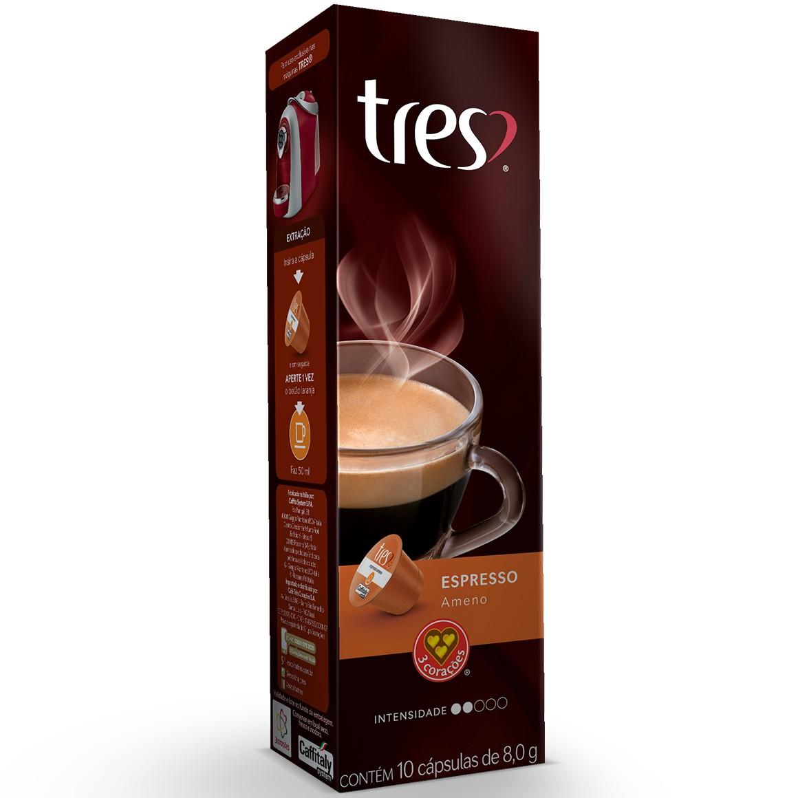 Cápsulas de Café Espresso Ameno 3 Corações - 10 un