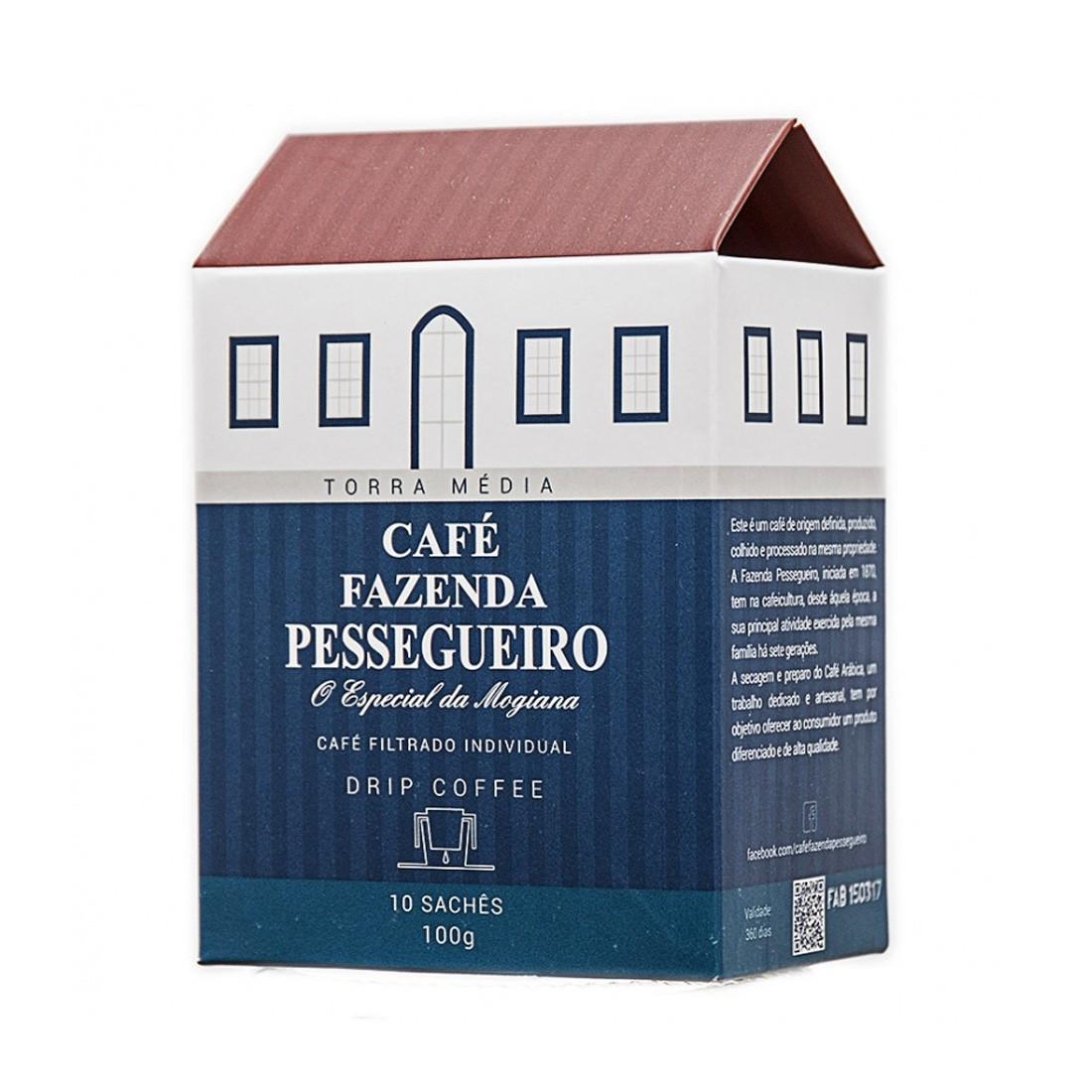 Café em Pó Drip Coffee Café Fazenda Pessegueiro - 10 filtros individuais com café