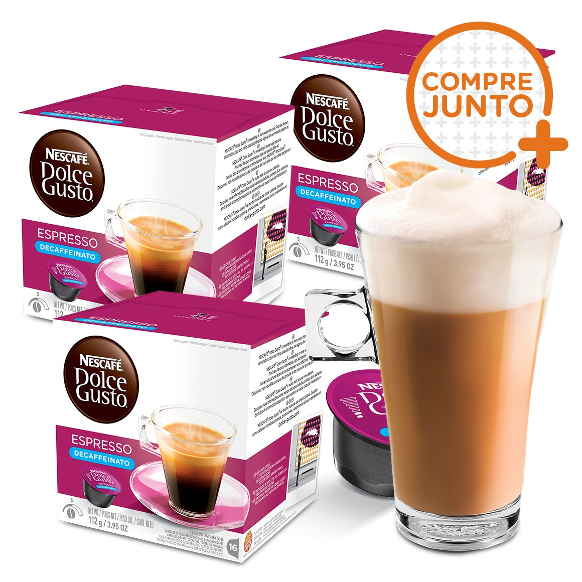 Kit 48 Cápsulas Nescafé Dolce Gusto Espresso Descafeinado Nestlé + 1 Taça de Café Dolce Gusto 268ml