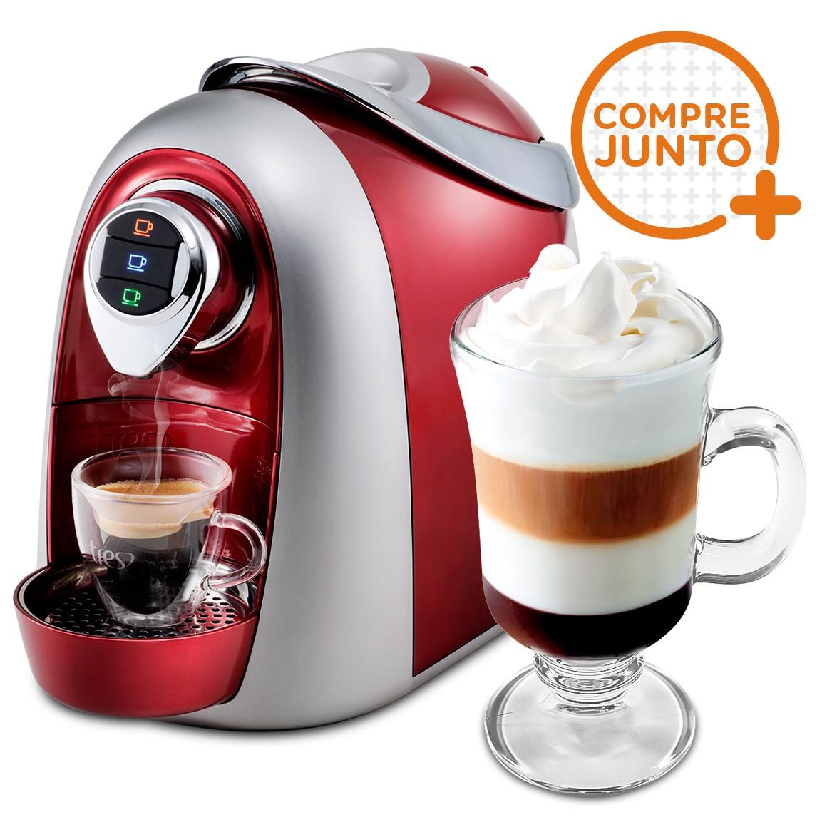 Cafeteira Expresso Três Corações Modo Vermelha 220v + 1 Taça de Café 250ml