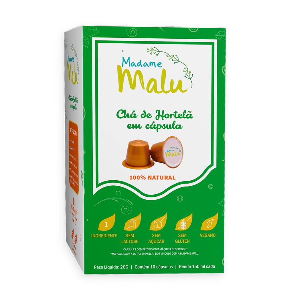 Cápsulas de Chá Hortelã Madame Malu - Compatíveis com Nespresso® - 10 un.