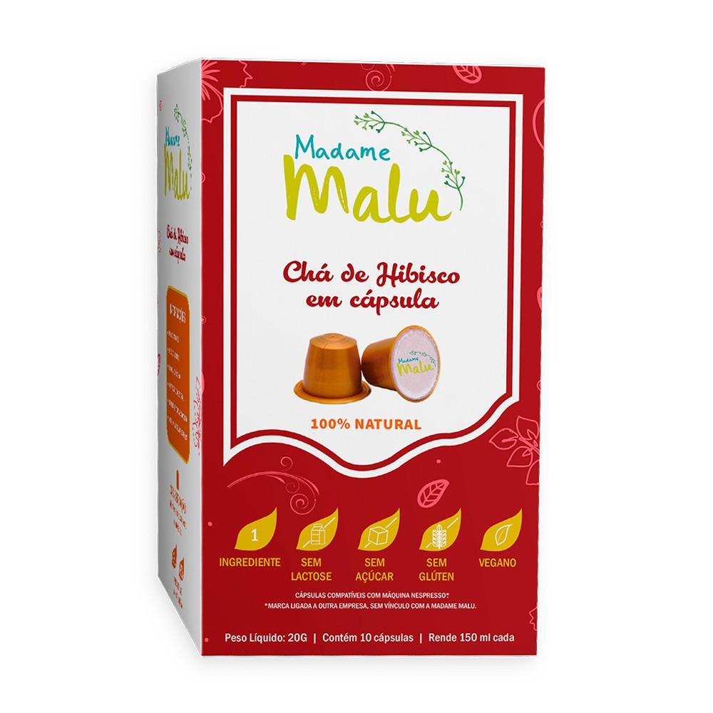 Cápsulas de Chá Hibisco Madame Malu - Compatíveis com Nespresso® - 10 un.