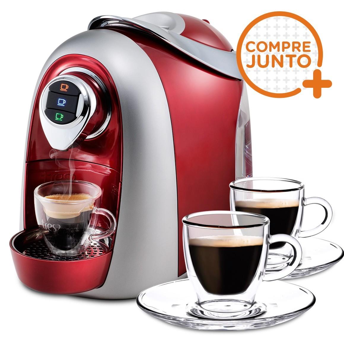 Cafeteira Expresso Três Corações Modo Vermelha 110v + 2 Xícaras para Café em Vidro Duplo 80ml