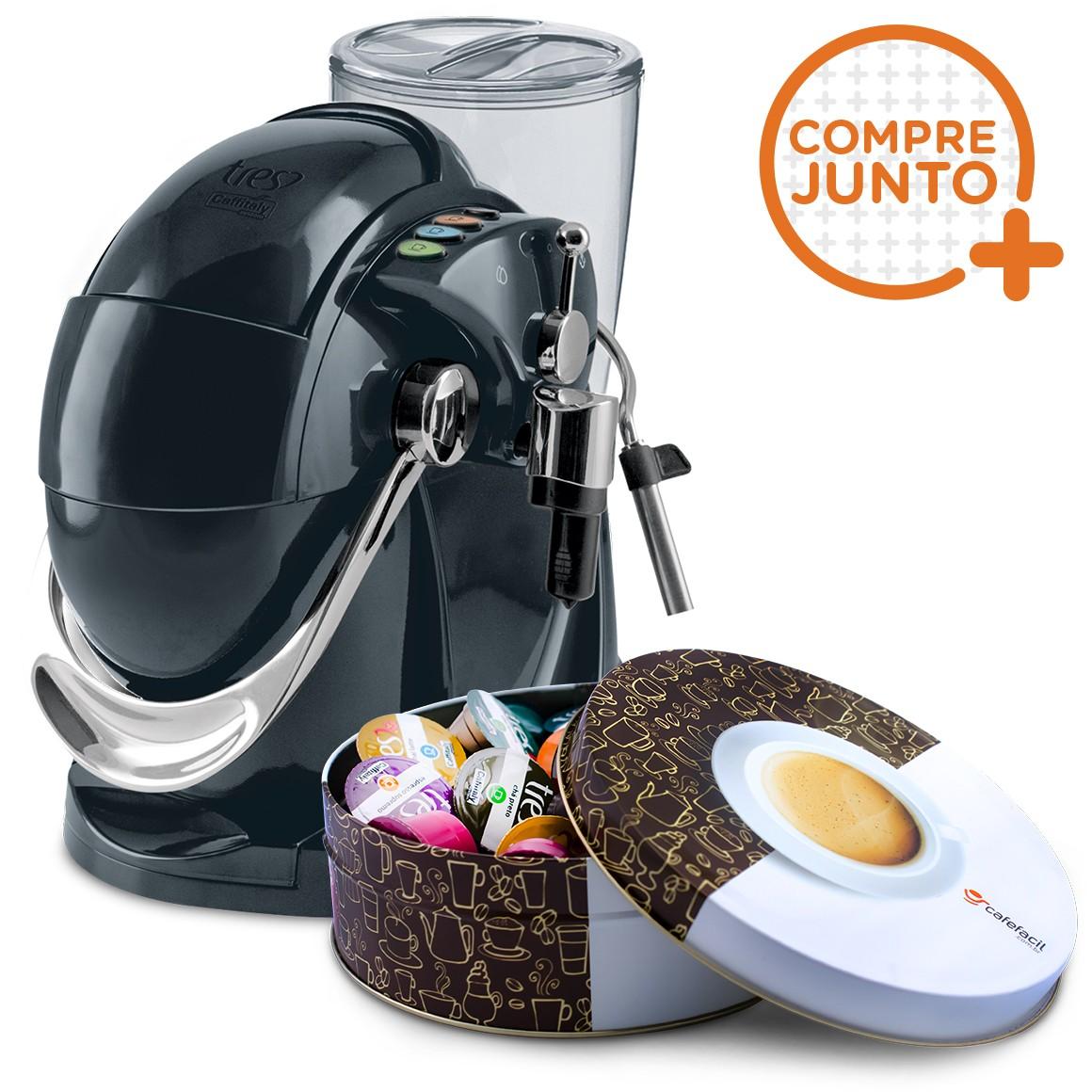 Cafeteira Expresso Três Corações Gesto Preta 110v + Lata Café Fácil com 36 Cápsulas Três Corações