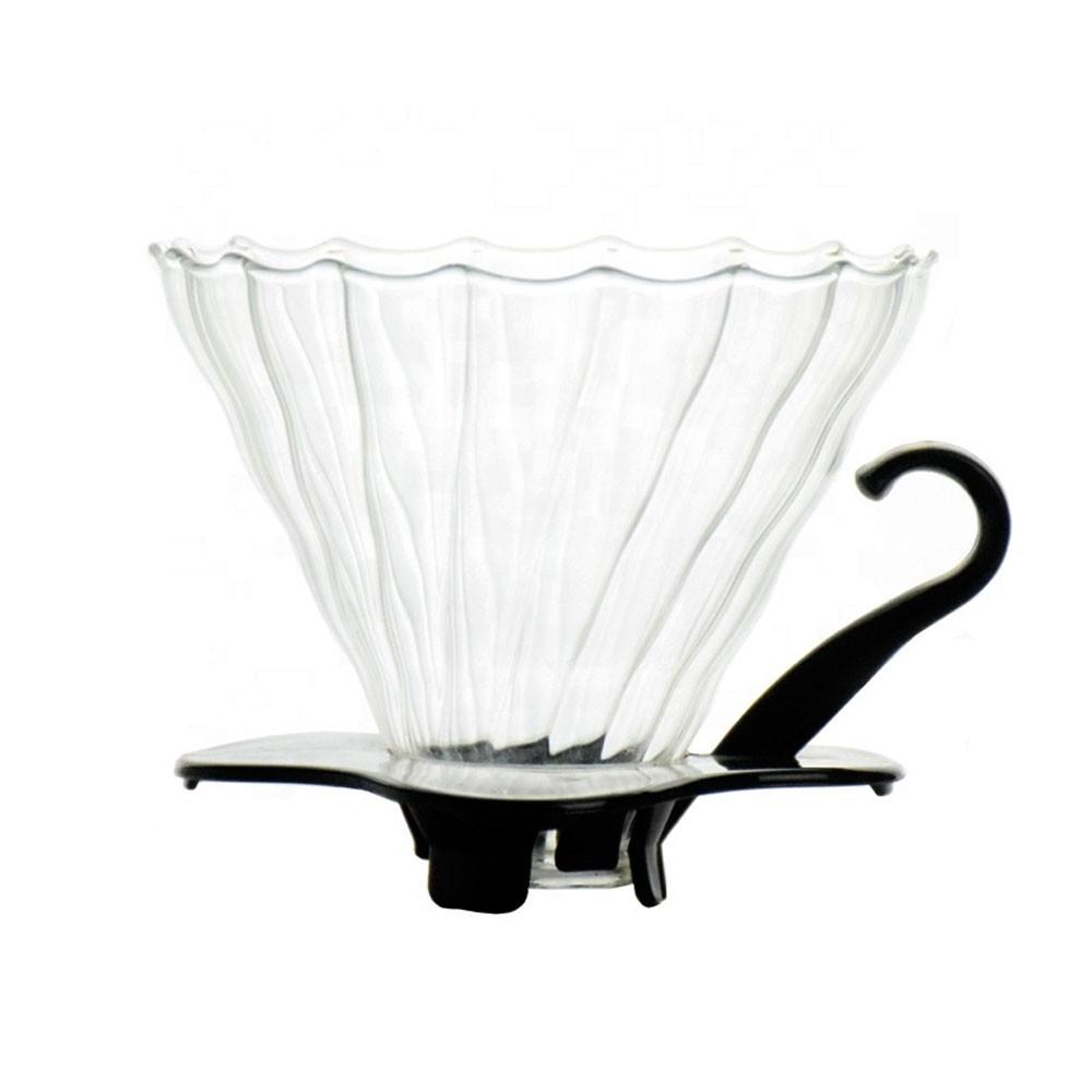 Coador para Café em Vidro V60 Transparente com Preto - Tamanho 02