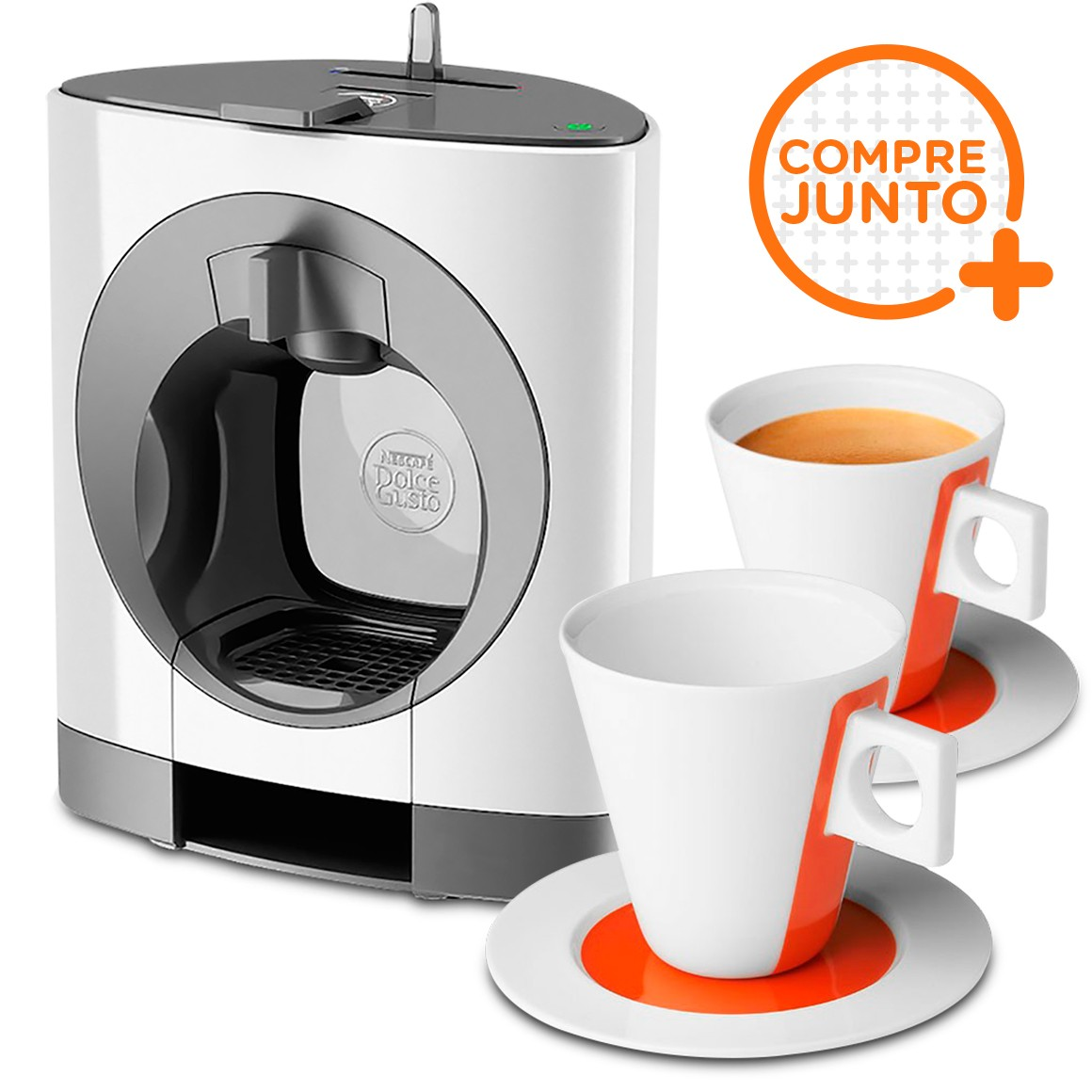 Cafeteira Expresso Dolce Gusto Oblo Branca 110v + 2 Xícaras Iconic para Lungo 160ml