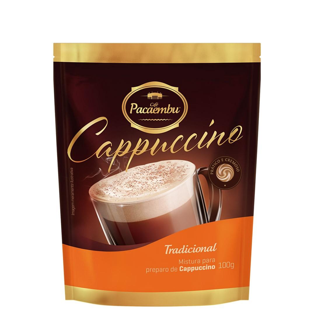 Cappuccino Solúvel Tradiconal Pacaembu Sachês 100g - 24 un