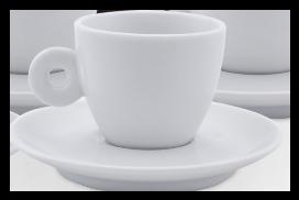 Xícara Branca de Porcelana para Café com Pires Fancy 70ml.