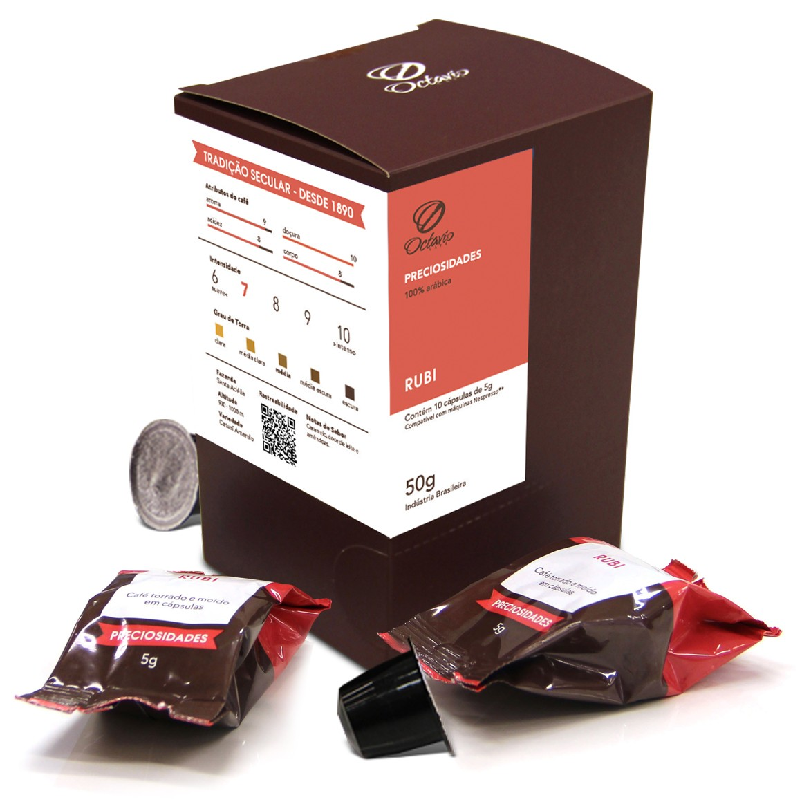 Cápsulas de Café Compatíveis com Nespresso Octavio Café Rubi - 10un