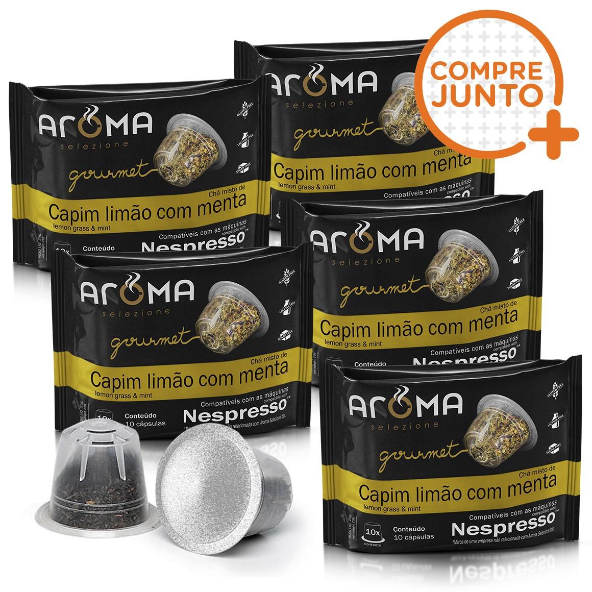 Kit Cápsulas de Chá Compatíveis com Nespresso Capim-Limão com Menta Aroma - 50 un.