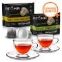 Kit 20 Cápsulas de Chá Compatíveis com Nespresso Aroma + 2 Xícaras para Chá em Vidro Duplo 250ml