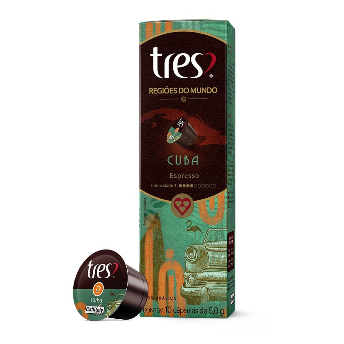 Cápsulas de Café Espresso Cuba 3 Corações - 10 un