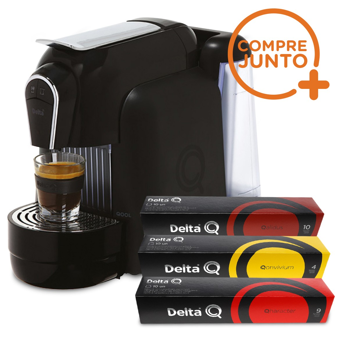 Cafeteira Expresso Automática Qool Delta Q Preta 110 v + 30 Cápsulas