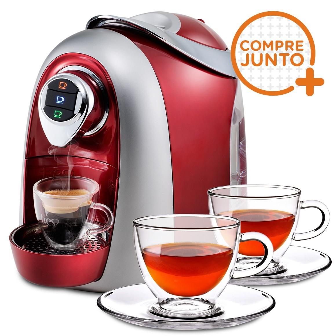 Cafeteira Expresso Três Corações Modo Vermelha 220v + 2 Xícaras para Chá em Vidro Duplo 250ml
