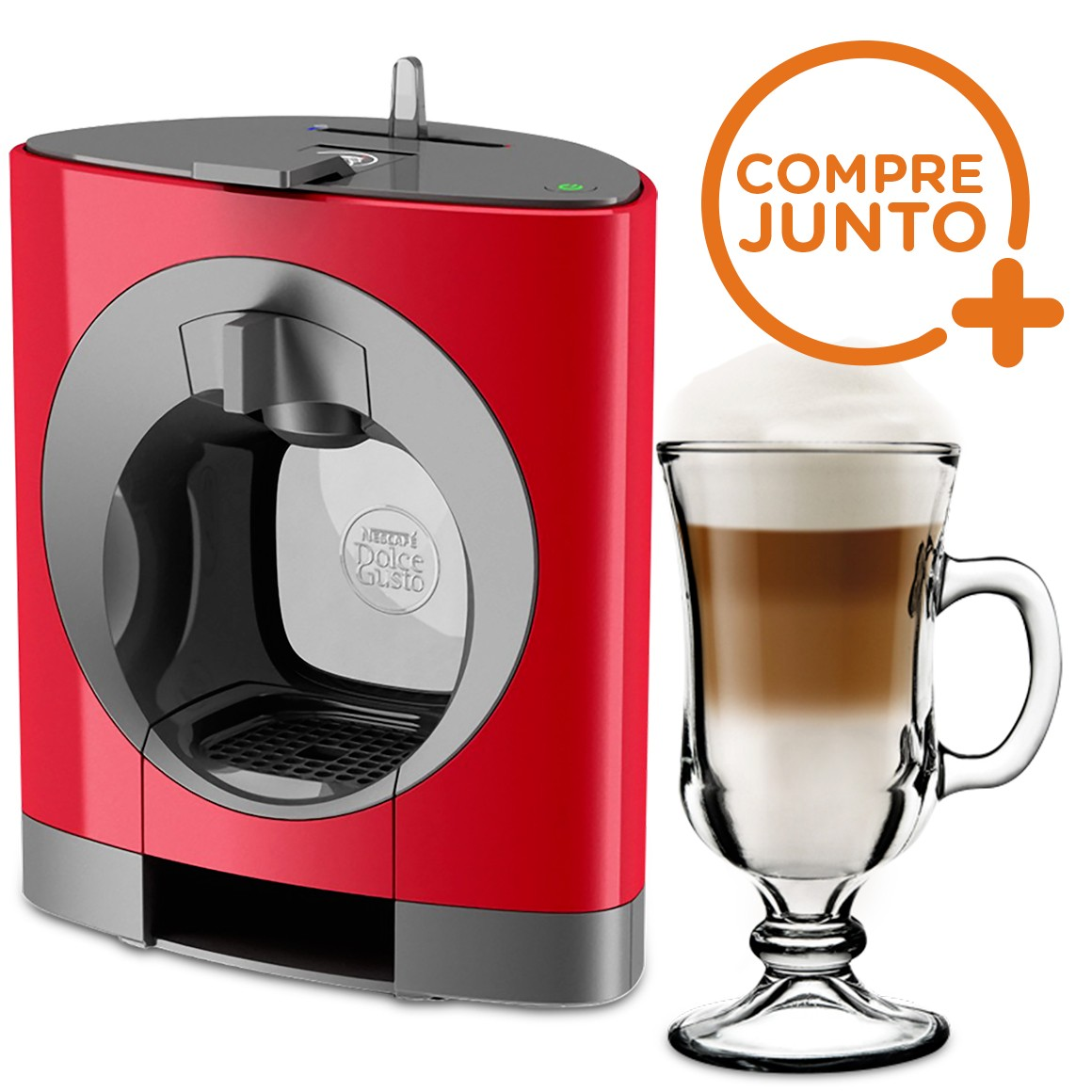 Cafeteira Expresso Dolce Gusto Oblo Vermelha 110v + 1 Taça Nevada Irish Coffee 130ml