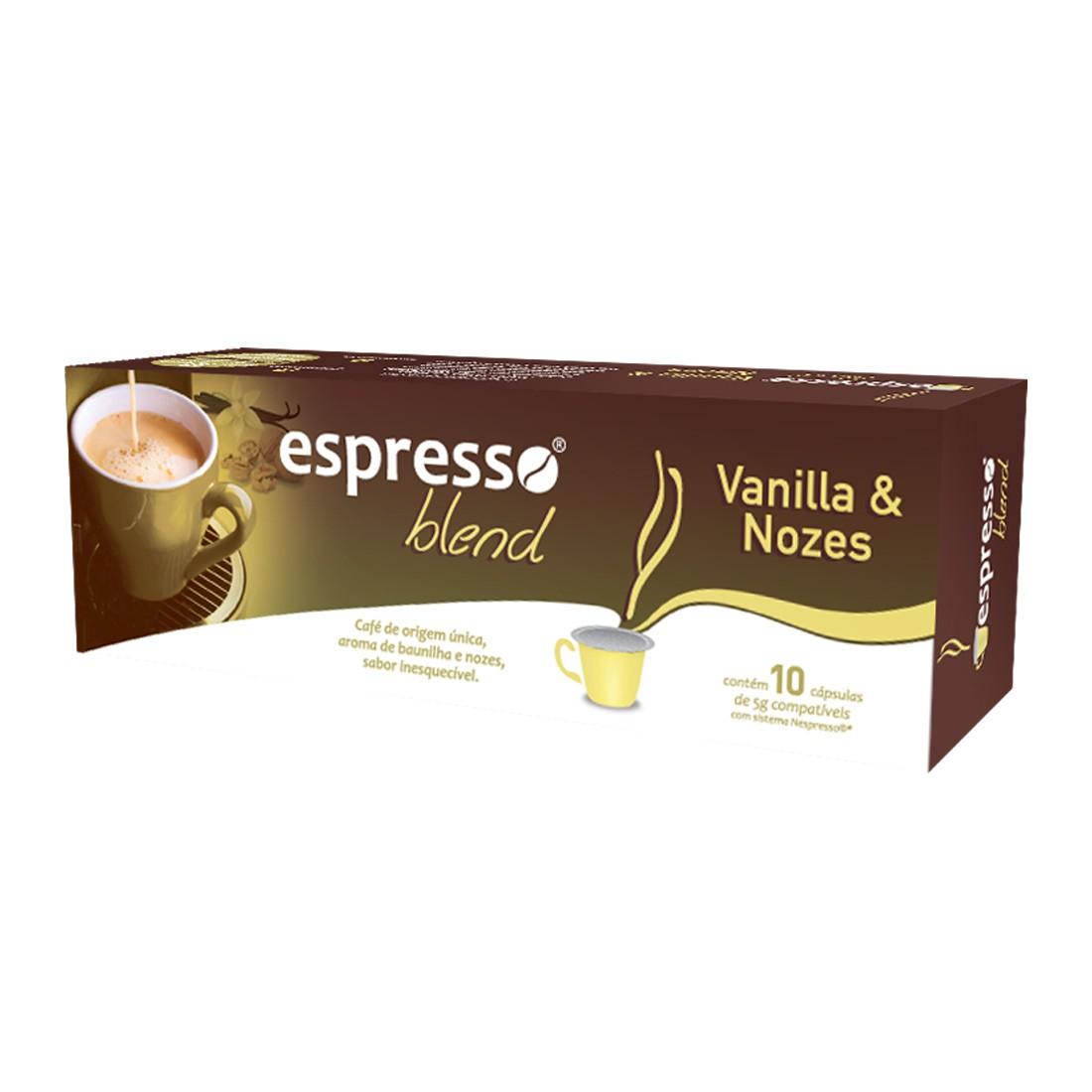 Cápsulas de Café Compatíveis com Nespresso Espresso Blend Vanilla e Nozes