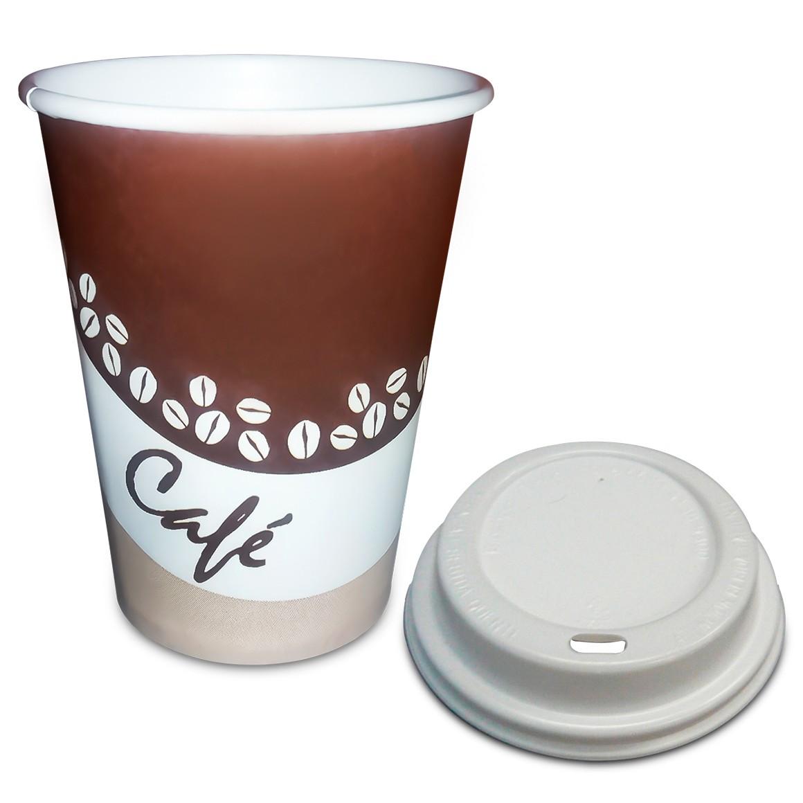 Copo de Papel Com Tampa Biocopo Estampa Café 240ml - 100 un.