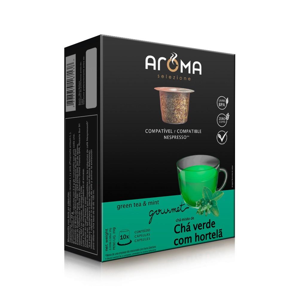 Cápsulas de Chá Compatíveis com Nespresso Chá Verde com Hortelã Aroma - 10 un.