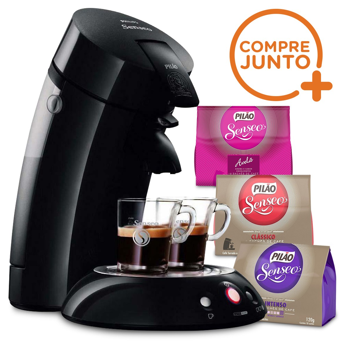 Kit Cafeteira Expresso Philips Senseo 110v Preta + 3 tipos de Sachês