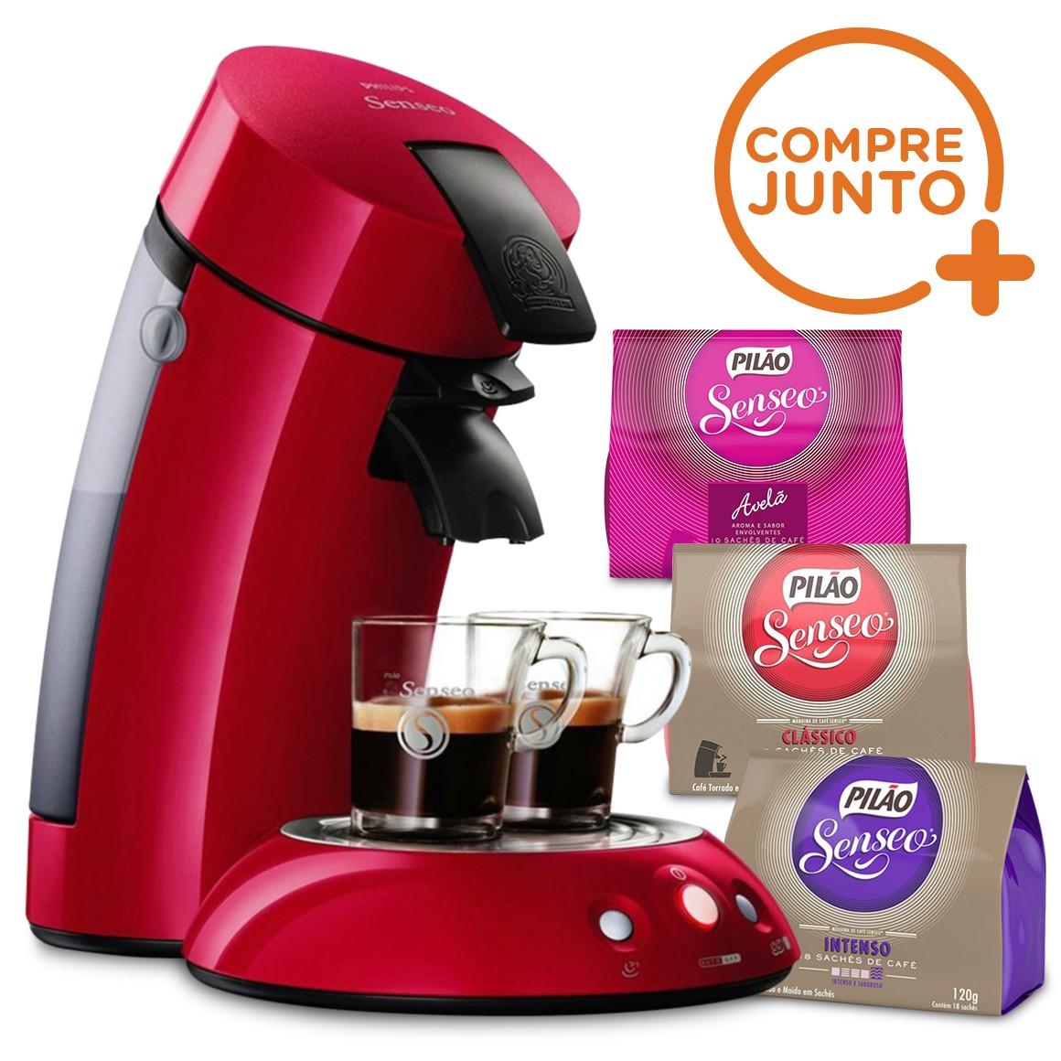 Kit Cafeteira Expresso Philips Senseo 110v Vermelha + 3 tipos de Sachês