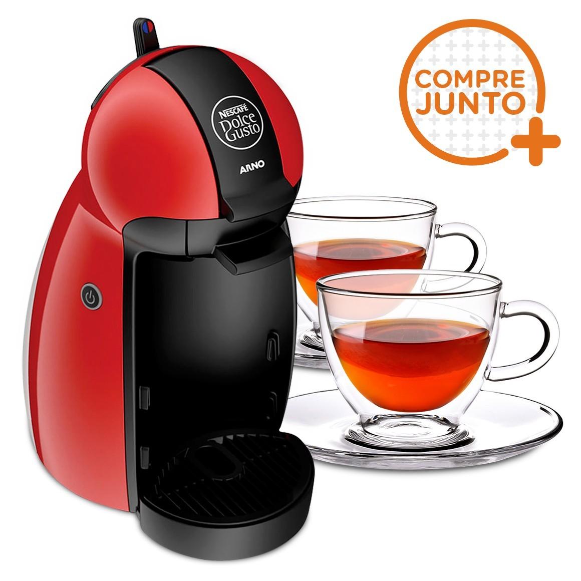 Cafeteira Expresso Dolce Gusto Piccolo Vermelha 220v + 2 Xícaras para Chá em Vidro Duplo 250ml