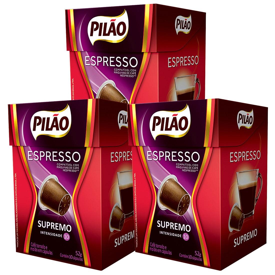 Kit Cápsulas de Café Pilão Espresso Supremo - Leve 3 pague 2