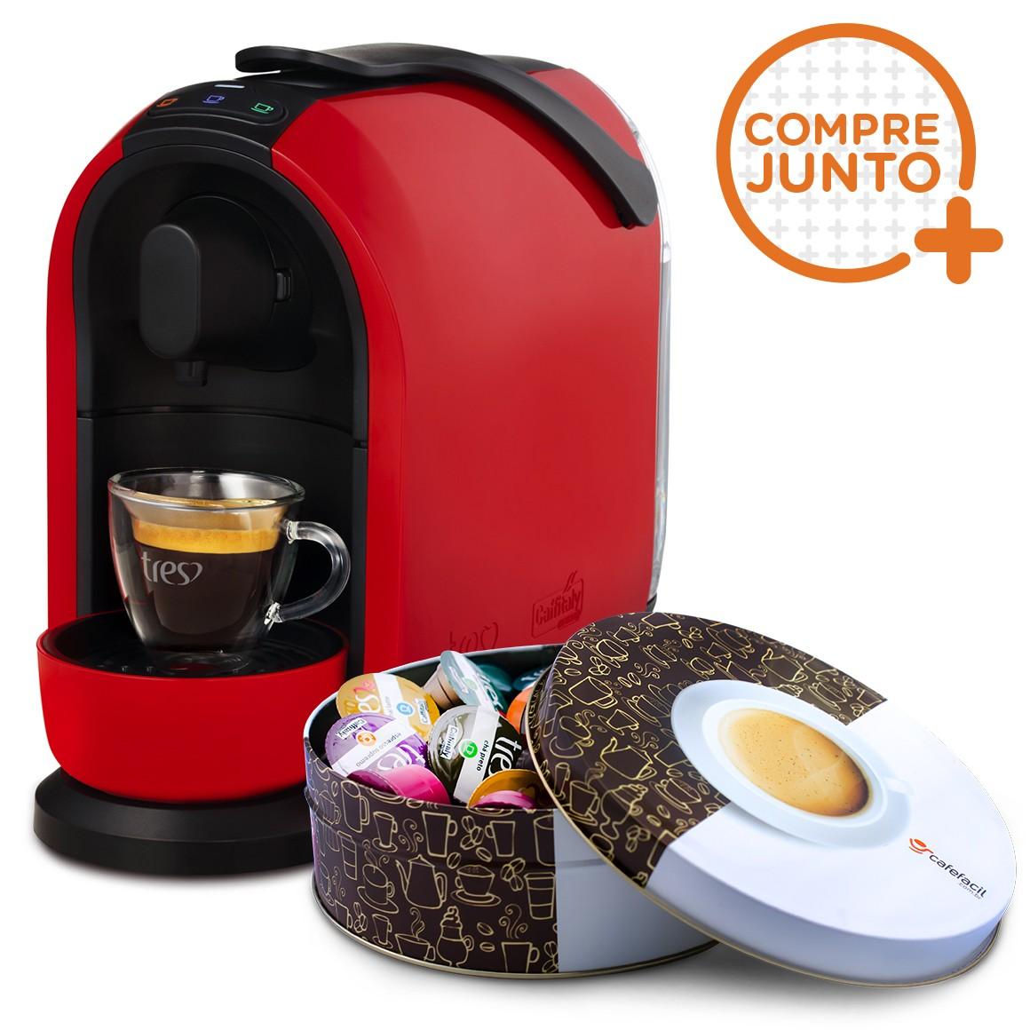 Cafeteira Expresso Três Corações Mimo Vermelha 110v + Lata Café Fácil com 36 Cápsulas Três Corações