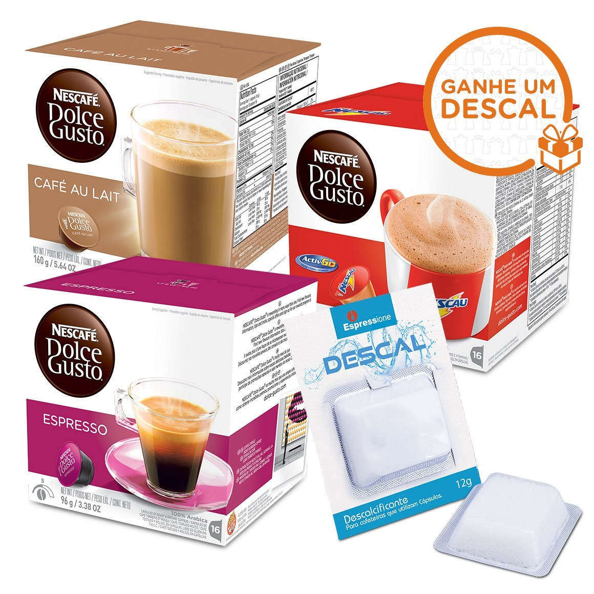 Kit 48 Cápsulas Nescafé Dolce Gusto Nestlé + Descalcificante para Cafeteiras de Cápsulas - 12gr