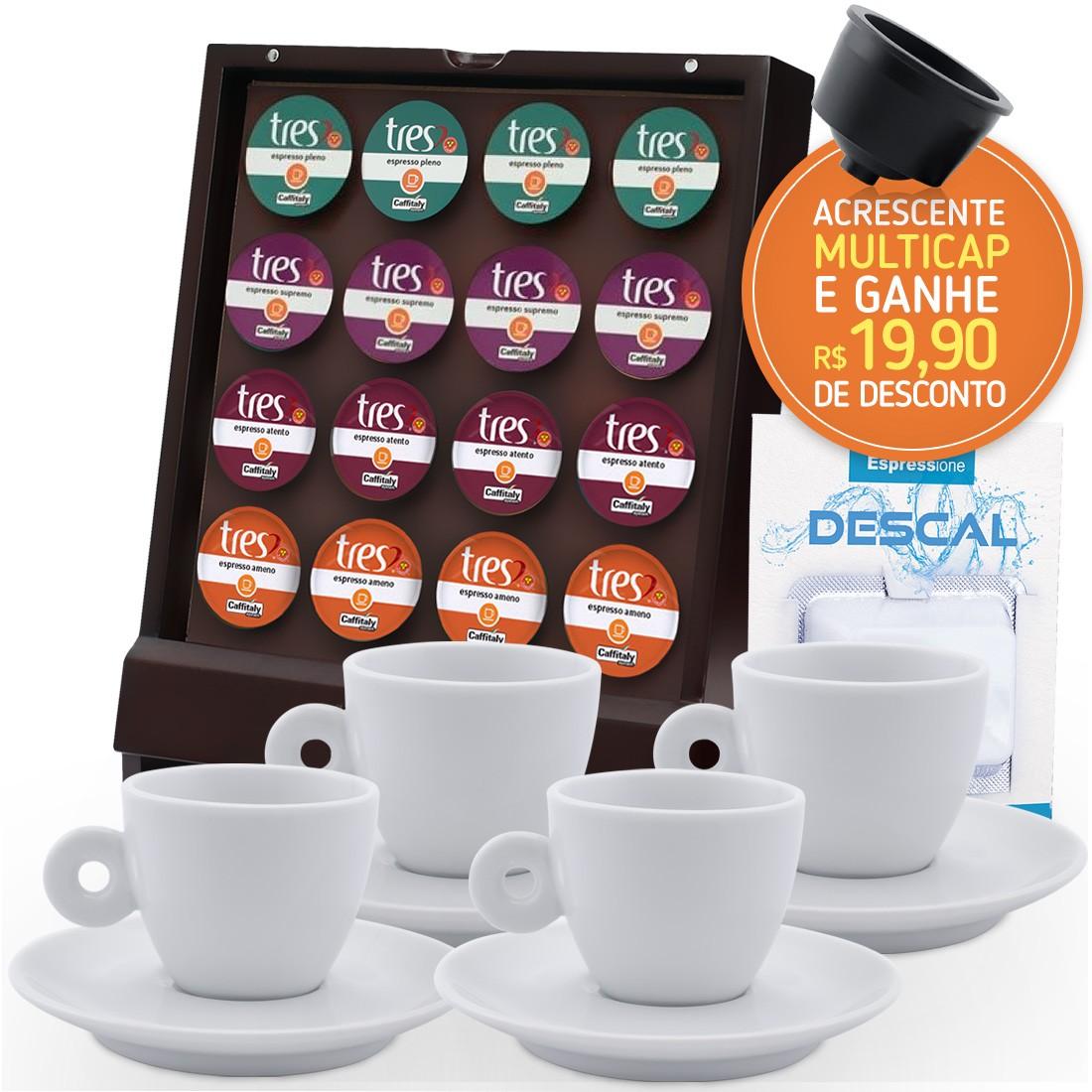 Kit Deluxe - 16 Cápsulas de Espresso Três + Porta Capsulas e 4 Xícaras
