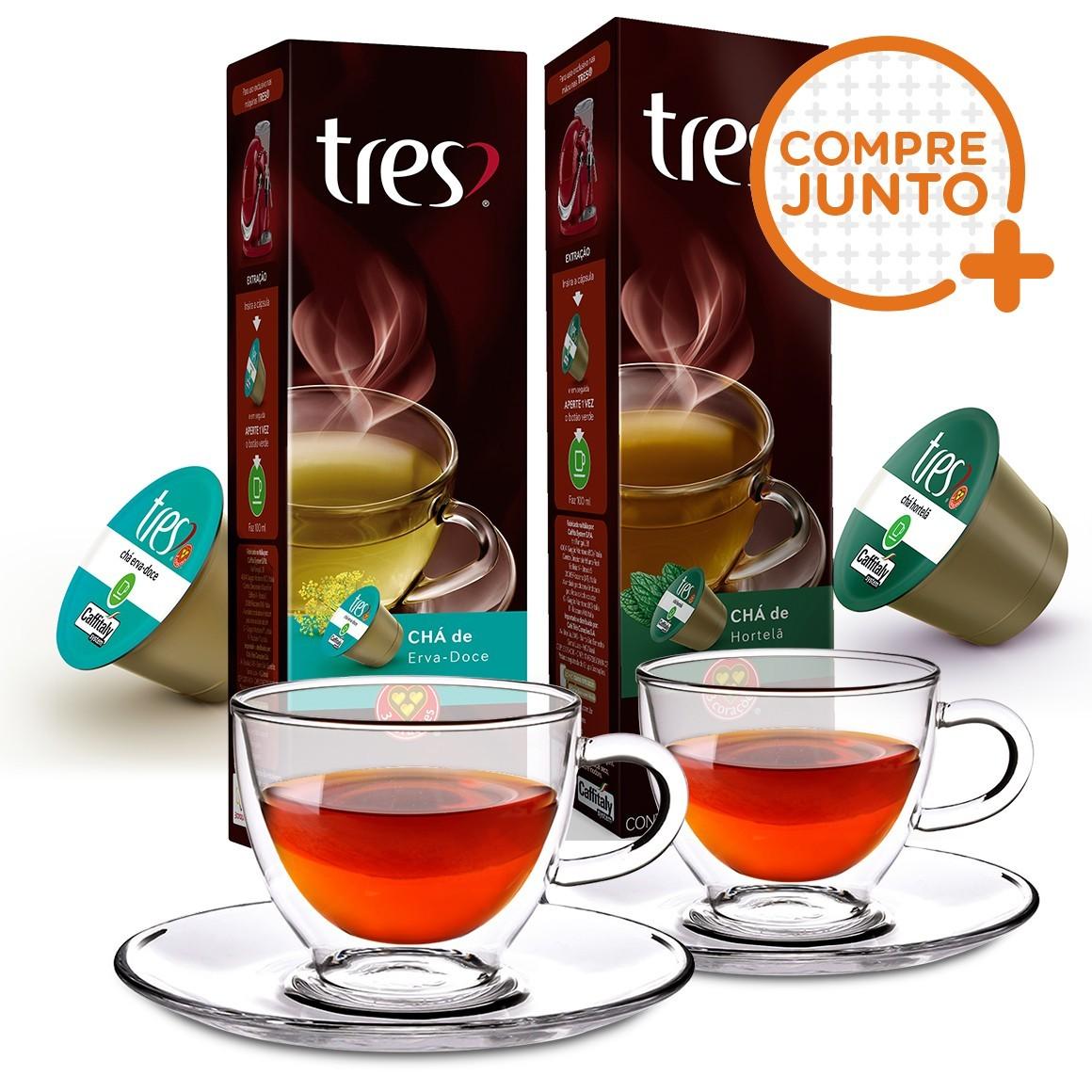 Kit 20 Cápsulas de Chá Três Corações + 2 Xícaras para Chá em Vidro Duplo 250ml