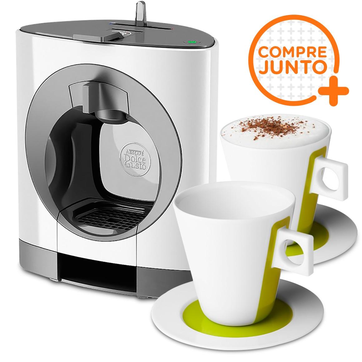 Cafeteira Expresso Dolce Gusto Oblo Branca 110v + 2 Xícaras Iconic para Cappuccino 250ml